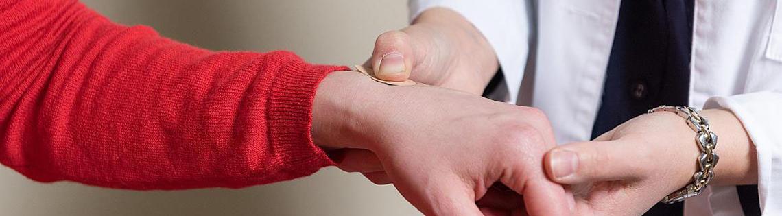 Microneedle flu vaccine patch application.