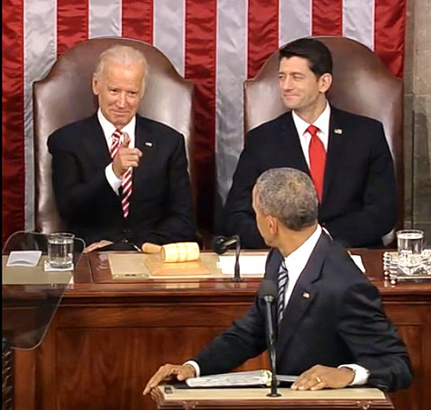 Obama turns to see a smiling Biden pointing at him next to a smiling Ryan at the State of the Union address in the Capitol.