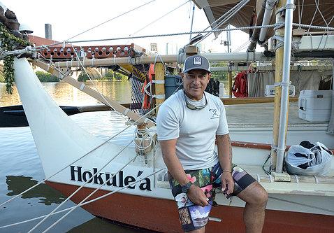 Kalepa aboard the canoe, docked in Georgetown