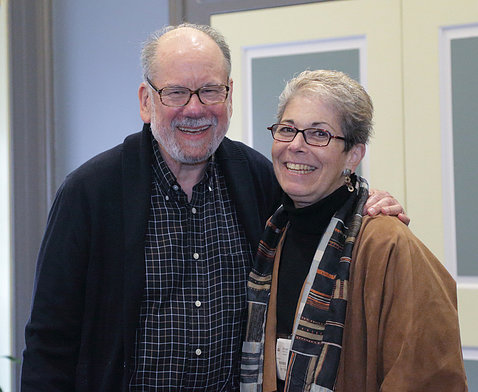 Dr. Lee Rosner and his wife Kay smile together in Wilson Hall.