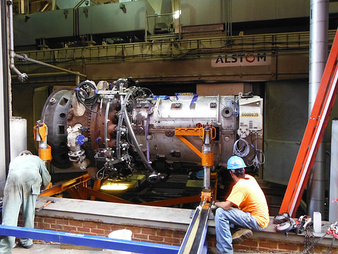 Old jet engine is removed.