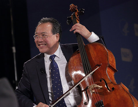 Cellist Yo-Yo Ma plays the cello