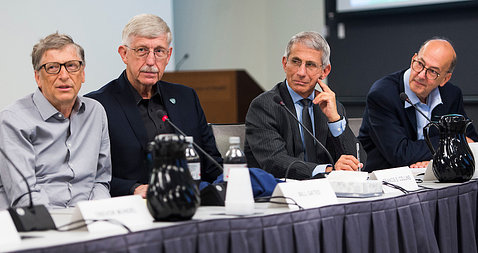 Bill Gates with Drs. Collins, Glass and Fauci