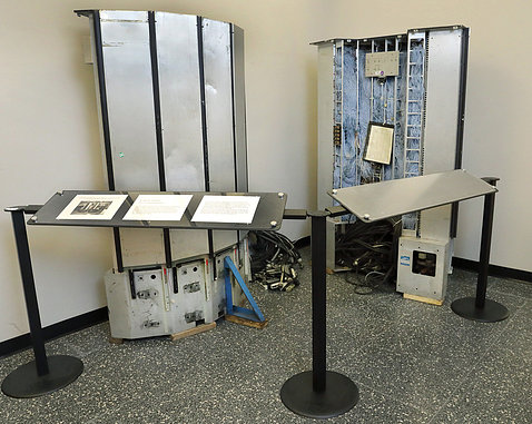 The old Cray supercomputer is now an exhibit in the Bldg. 31 lobby.