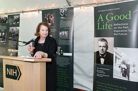 Mary Fogarty McAndrew at the podium.