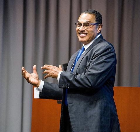 Dr. Freeman Hrabowski is speaking to the audience.