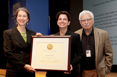 Ghedin, Segre and Sher with plaque