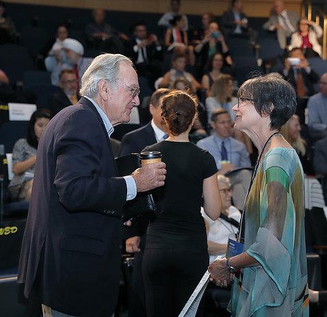 Langevin and Sen. Harkin speak with each other