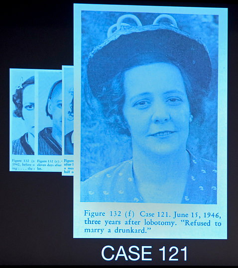 Photo of same woman, now older, smiling, wearing a hat