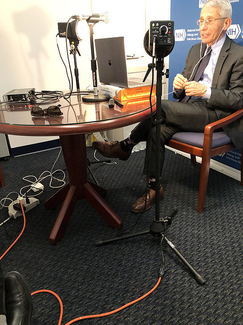 Dr. Fauci tapes a podcast.
