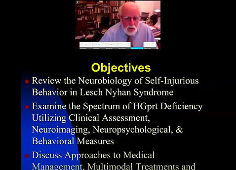 A screen shot of Harris speaking above a slide with his lecture objectives