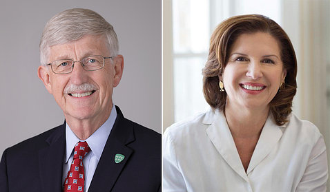 Dr. Francis Collins and Dr. Maria Freire.