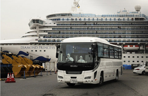A bus leaves parking lot with cruise ship docked behind.
