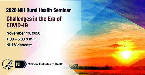 Rural health seminar poster shows setting sun.
