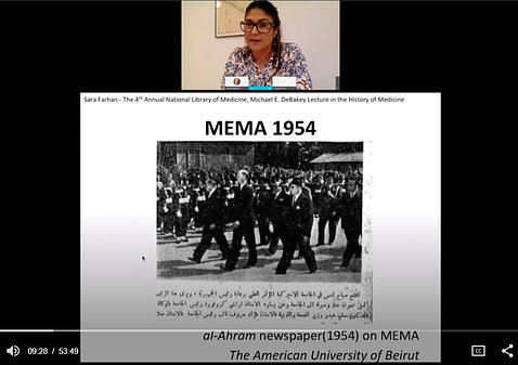 Farhan speaks on videocast, showing a slide of a group of doctors walking at 1954 MEMA