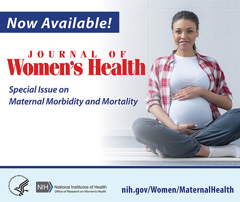 Poster showing a smiling pregnant lady holding her belly, that reads: Now Available, Journal of Women's Health, special issue on maternal morbidity and mortality