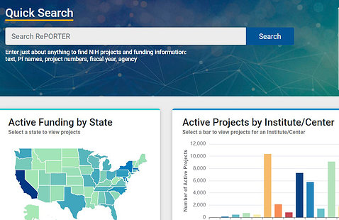 Part of the homepage of the new RePORT shows a quick search box, a U.S. map to search active funding by state, and a bar graph of active projects by institute/center