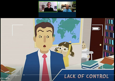 "A cartoon, titled ""Lack of Control,"" shows a surprised man in a suit speaking on video as a child runs into the room, interrupting him."