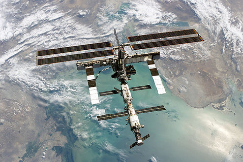 The International Space Station orbits Earth.