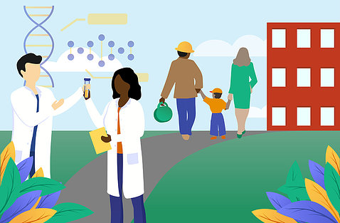 A computer image shows doctors in lab coats and other people walking along a path.