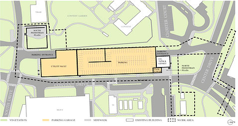 Green and yellow map shows the proposed new garage and walkways off of Convent Drive.
