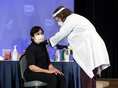 Dr. Giri gets vaccine.