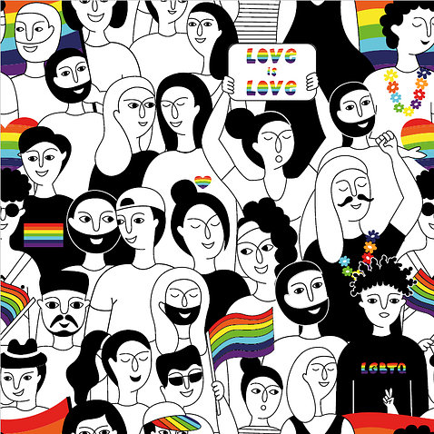 artwork featuring dozens of drawn faces variously styled hair, expressions interspersed with rainbow flags