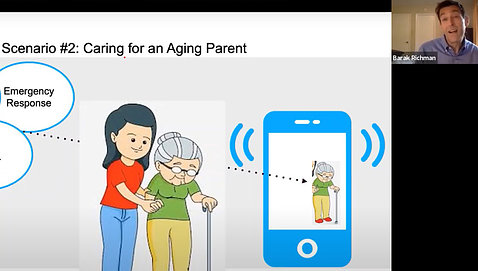 A cartoon shows a woman holding an elderly woman's hand with a phone receiving emergency response inputs.