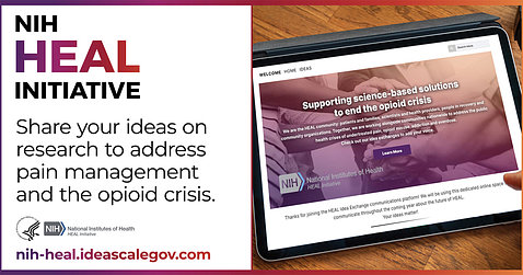 """A poster shows a screen with """"Supporting science-based solutions to end the opioid crisis"""" along with Share Your Ideas."""