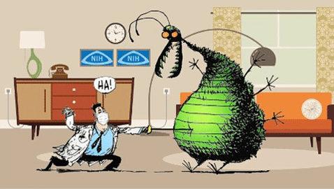 "Cartoon scientist in labcoat and face mask pokes menacing flu ""bug"" in belly"