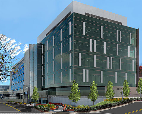 A 5-story modern glass building will attach to the original Vaccine Research Center, shown behind it.