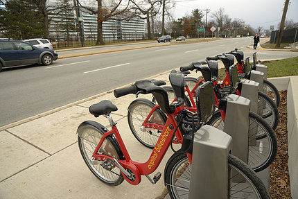 A Bikeshare dock, with bikes