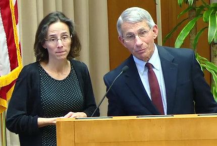 Spong and Fauci at podium