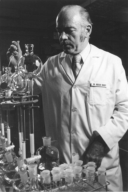 Brady in lab, 1975