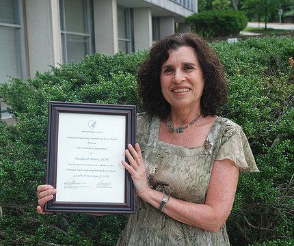 Weiner displays her plaque