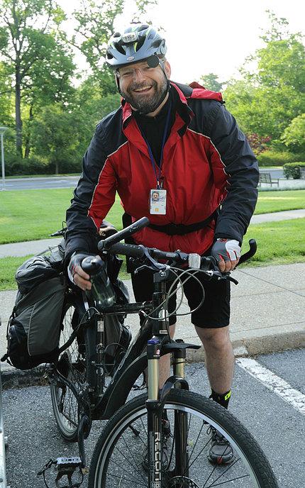 Dr. Brooks aboard his bike