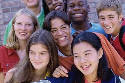 A group of smiling teens