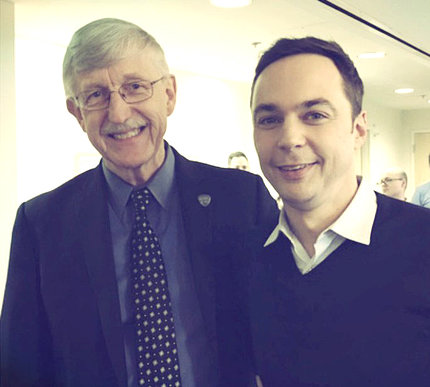 Dr. Collins and actor Jim Parsons pose together, smiling
