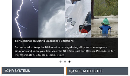 four panels featuring images of lightning, clouds, snow, hydrant awash in flood