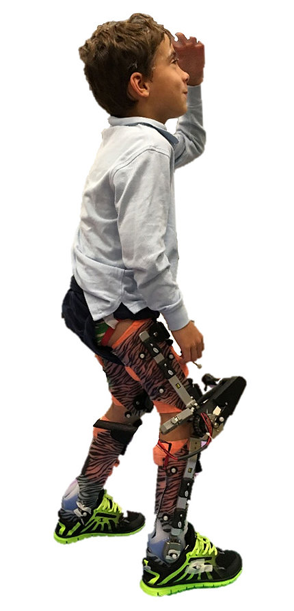 custom-designed A child wears motorized assembly for providing knee-extension assistance during walking.