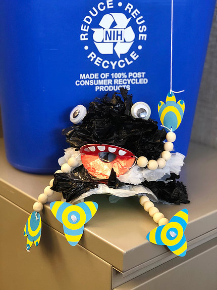 Puppet depicts the Plastic Bag Monster.