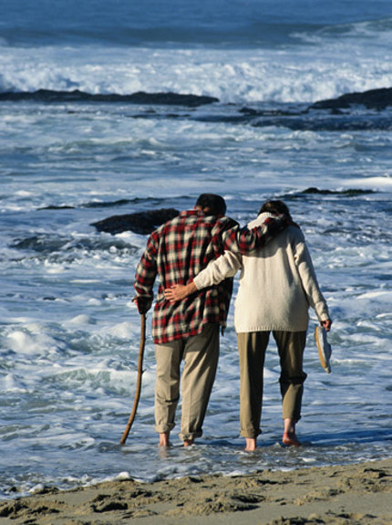 A couple walking arm-in-arm along the shore.