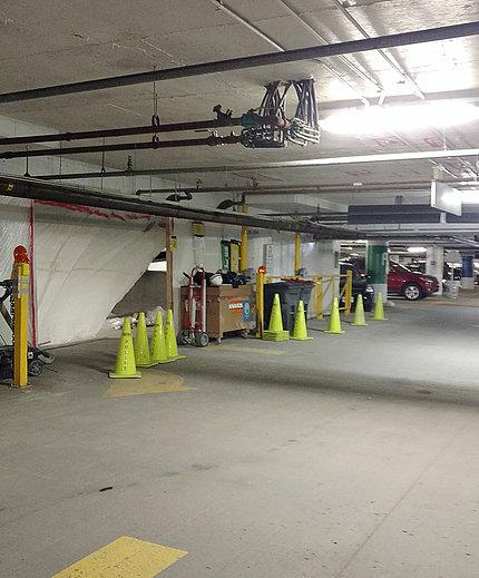 Refurbished underground ramp to building 10 parking garage