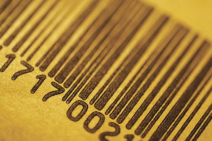 Closeup of a barcode label