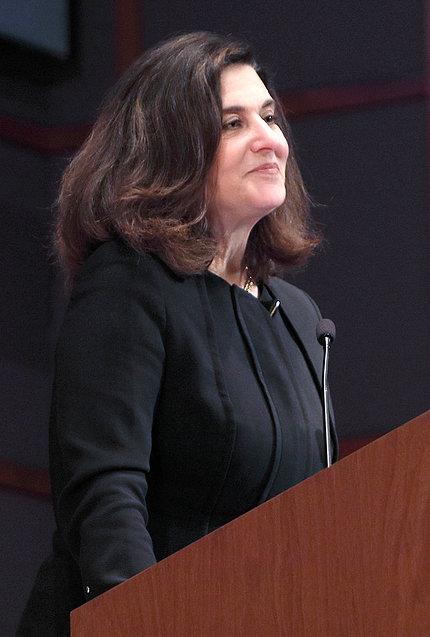 Victoria Reggie Kennedy speaks at podium