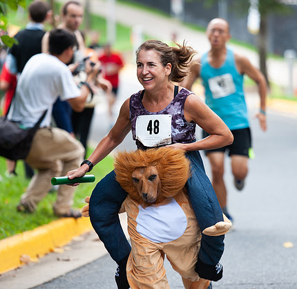 Andrea Keane-Myers wearing a lion costume while running.