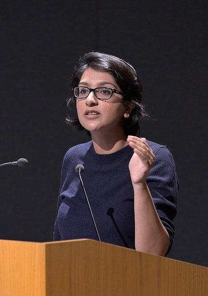 Saini at podium
