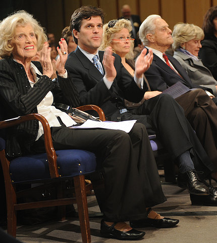 At 2008 event, Eunice Kennedy Shriver sits with her son, daughter-in-law, husband and sister Jean in Natcher auditorium