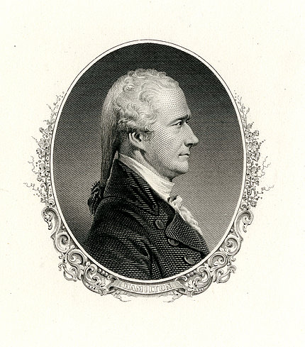 Illustration of Alexander Hamilton, in profile