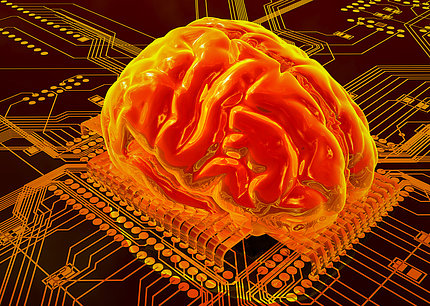 The human brain looks reddish-yellowish in this artificial intelligence rendering